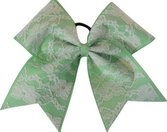 Lace Mint Green Cheer Bow