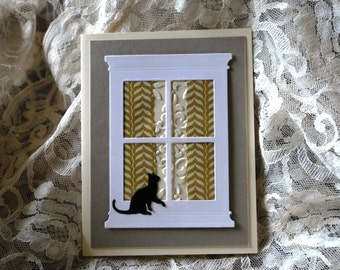 Handmade Greeting Card: Cat at window