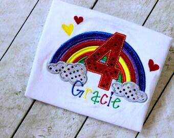 Rainbow birthday shirt for girls Rainbow shirt with initial or number Girl Rainbow birthday shirt Rainbow First birthday outfit