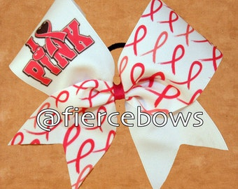 I Love Pink Breast Cancer Awareness Cheer Bow