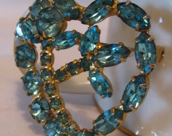 Vintage and Attractive Aqua Blue Rhinestone Heart Brooch, Gold Toned Setting