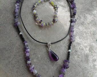 Amethyst healing jewelry set