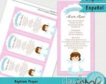 Baptism Angel Girl Printable Prayer / Card / Bookmark - 300 DPI / Oración / Recuerdo Bautizo Niña