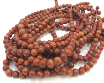 """Red """"Malachite"""" Marble Natural Beads, 8mm Round, 16 inch Strand, 8mm Red Beads, Beading Supplies, Item 566pm"""