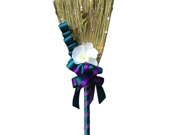 Wedding Broom - Double Ribbon with Orchid - Colors Can be Selected