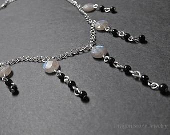 Labradorite and Jet Dangle Necklace