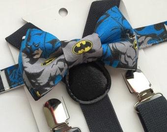 Dark Grey Suspenders and Batman Bow Tie Set. Blue Batman Bow Tie Set! 1-7y.o.
