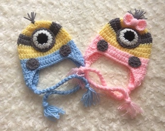 Crochet Baby Minion Hat - Twins - MADE TO ORDER - One or Two Eyes