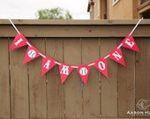 I AM ONE banner for 1st Birthday Party Baseball Themed | Red & White