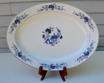 Lovely Canton Blue Fine China Serving Platter 3558