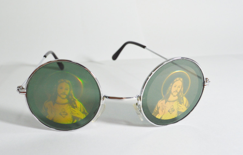 Jesus Hologram Sunglasses Round Psychedelic Hippie Trippy Men