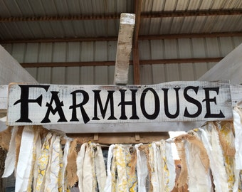 "FARMHOUSE pallet/barnwood board hand painted sign. Distressed and ""weathered"" look."