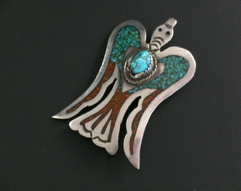 Large HMIJ Ortega Shop Native American Sterling Silver Thunderbird Coral & Turquoise Inlay #0081