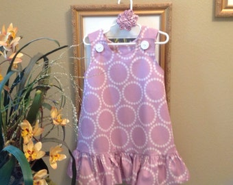 Lavender Pearl Bracelets Dress w Ruffle, (baby, girls, toddler, infant, child) Jumper or Sundress