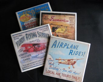 Airplane Coasters ~ Vintage Airplane Signs ~ Ceramic Tile Coasters ~ Drink Coasters ~ Old Airplanes ~ Table Coasters ~ Airplane Decor