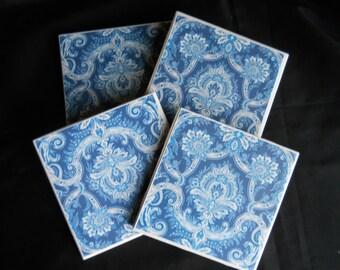 Cobalt Blue Coasters ~ Ceramic Tile Coasters ~ Blue Damask ~ Cobalt Blue ~ Drink Coasters ~ Table Coasters ~ Home Decor ~ Blue Coasters
