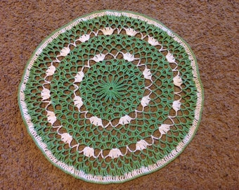 Vintage Green and White Doily