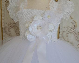 Simply White flower girl tutu dress