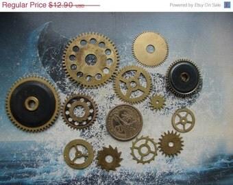 Set of 12 Brass Gears Parts/ Vintage alarm clock parts / alarm watch parts / Different size brass gears / steampunk supplay -- g04