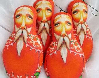 Single Collectible Scherer Folk Art Santa Claus Primitive Ornament Doll Cloth Christmas