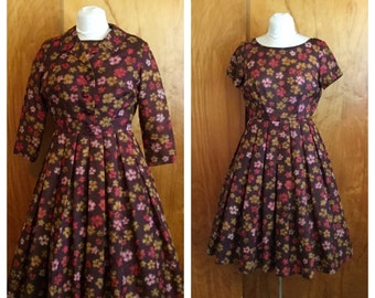 Vintage 1950's Fall Floral New Look Dress