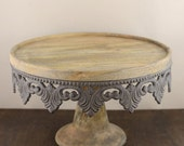 Metal & Wood Cake Stand Vintage Style Metal Cake Stand    Simply Beautiful