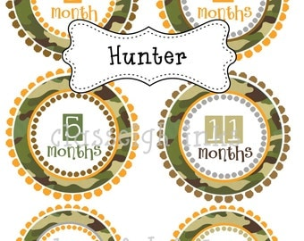 Camo Hunting Camouflage Monthly Stickers Baby Monthly Stickers