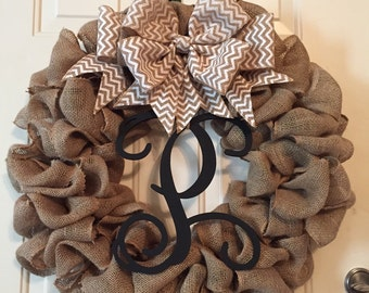Large Burlap Wreath with Removable Grapevine Letter