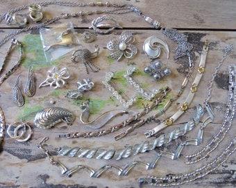 Vintage Gorgeous Silver Jewelry Lot Retro Mid Century Destash Earrings Supplies Wear Repurpose