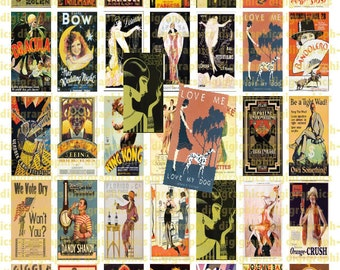 Roaring 1920s Vintage Posters 1X2 Domino Sized print out digital sheet.