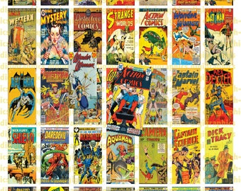 Vintage Comic Book Covers 1X2 Domino Sized print out digital sheet.