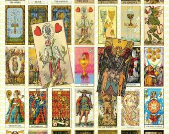 Tarot Cards 1X2 Domino Sized print out digital sheet.