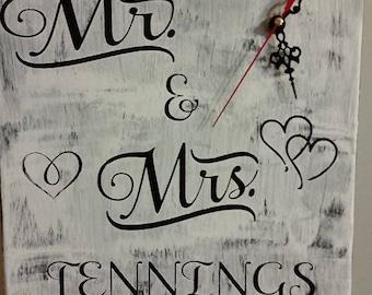 beautiful personalized mr and mrs wedding clock