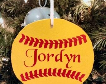 Cute wooden Softball Ornament