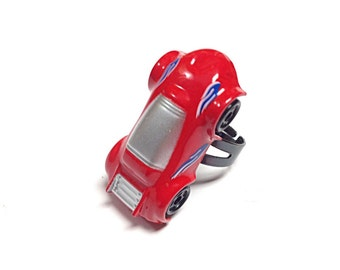 Red sports car ring, toy ring