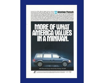"PLYMOUTH VOYAGER MINIVAN Original 1992 Vintage Color Print Ad - ""More Of What Amercia Values In A Minivan."""