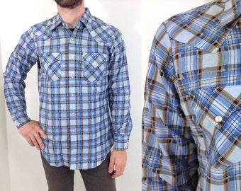 Vintage Blue Plaid Western-Wear Flannel Shirt