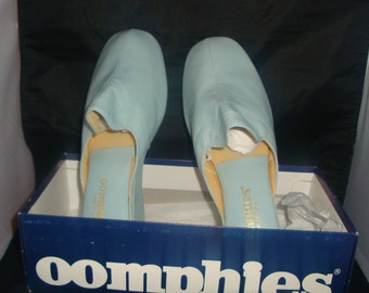 Vintage OOmphies Granada Light Blue Leather Slippers/ Shoes (1980s) Size 9 (New Old Stock)