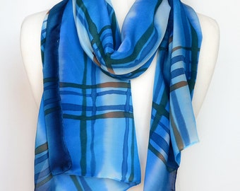 Mens Silk Scarf Blue- Fall mens scarf- Mens Geometric Scarf- Hand Painted Scarf for men- Silk Scarf Blue- Scarves for Men