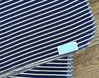 navy and white stripe swaddle blanket-photography prop- receiving blanket