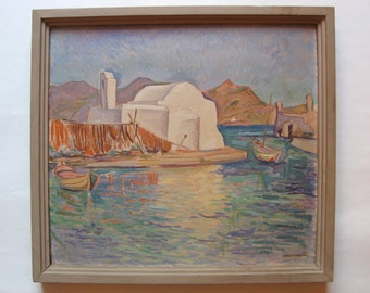 G. Velissaridis original oil painting, greek aegean island