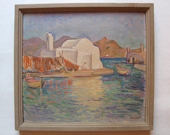 G. Velissaridis original oil painting, greek aegean island