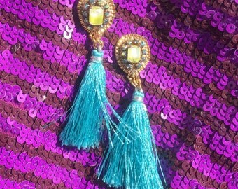 La Cantina // Turquoise and Chartreuse Statement Tassels