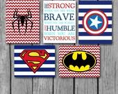 "Boys Room Decor/Superhero Wall Art/Be Strong Inspirational Quote/Nursery Decor/Little Boys Wall Art/Set of 5 8""x10"" Prints"
