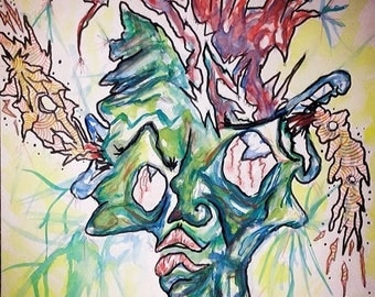 In one ear, out the other. Print of Abstract Watercolor Painting.