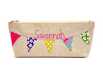 Personalised Pencil Case // Bunting Design // choose your fabric // Children's gift // Teacher gift
