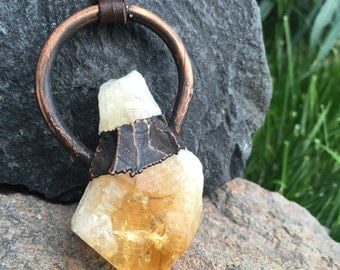 Raw Citrine Point Copper Necklace