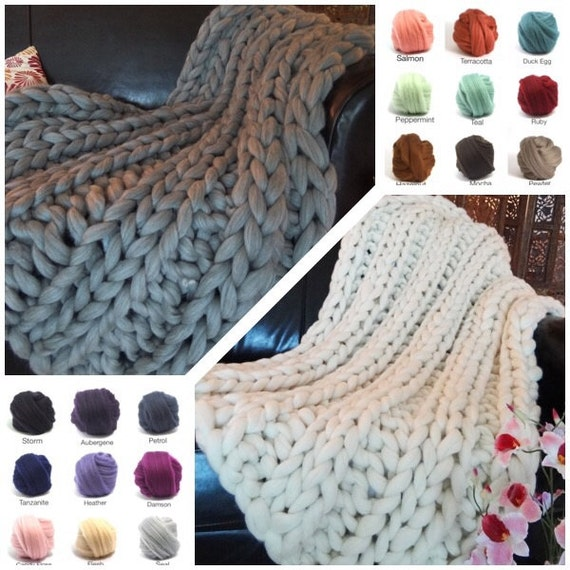 Chunky Blanket, COLOR, 30x50 Pure Merino Wool, knit blanket, chunky throw,