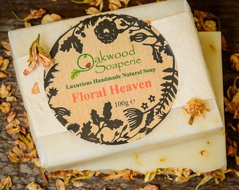 Jasmine & Ylang ylang, Handmade Natural soap with essential oils scattered with Calendula petals