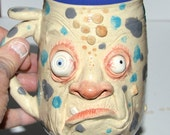 Grumpy Grouchy face mug handsculpted stoneware signed J Cotton One of a kind! 16 oz